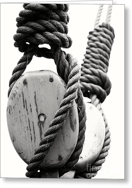 Block And Tackle Of Old Sailing Ship Greeting Card