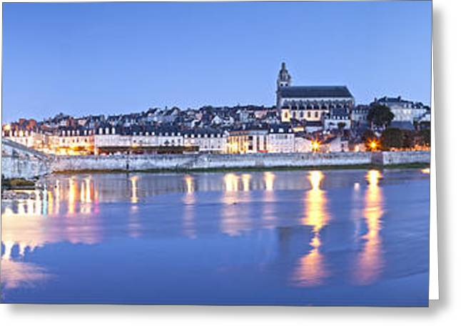 Blois Loire Valley Panorama Twilight  Centre France Greeting Card by Colin and Linda McKie