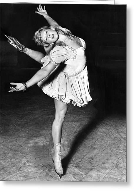 Blond Ballerina Of The Rinks Greeting Card by Underwood Archives