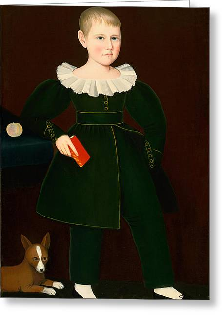 Blond Boy With Primer Peach And Dog Greeting Card by Ammi Phillips