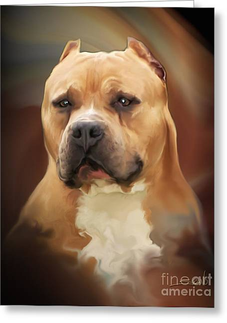 Blond Pit Bull By Spano Greeting Card