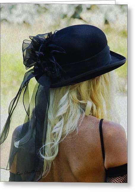 Blonde In Black Hat Greeting Card by Kae Cheatham