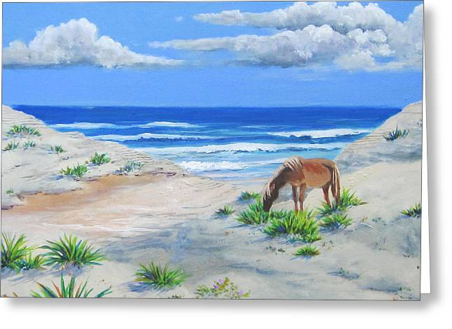 Blonde On The Beach Greeting Card by Anne Marie Brown