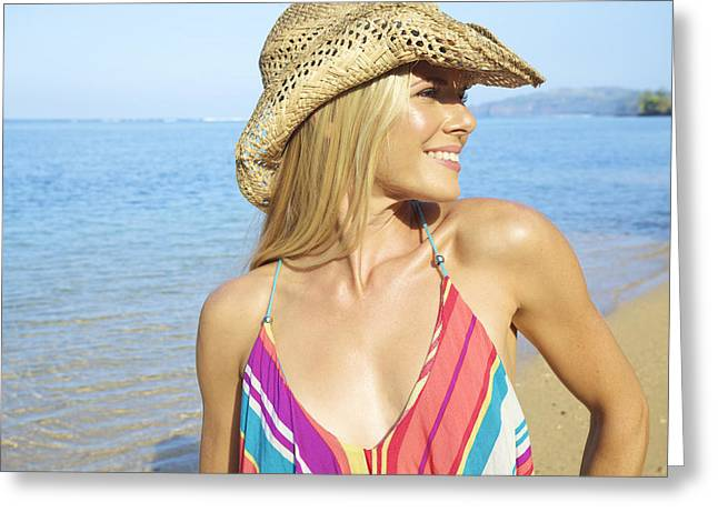 Blonde Woman In Hawaii Greeting Card by Kicka Witte