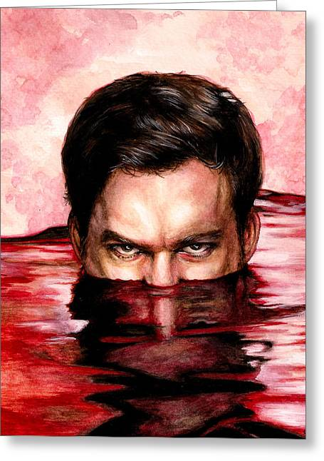 Blood Bath Greeting Card by Lanie McCarry