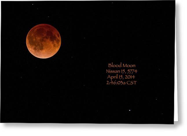 Blood Moon 2014 Greeting Card by Cheryl Birkhead