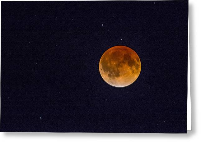 Blood Moon And Stars Greeting Card