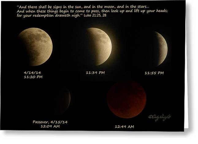 Blood Moon Eclipse Of 4/15/2014 Greeting Card by Cindy Wright