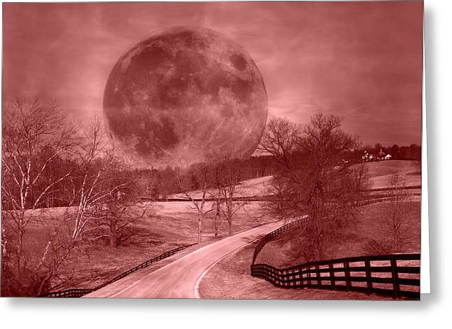 Blood Moon One Of Two Greeting Card by Betsy Knapp