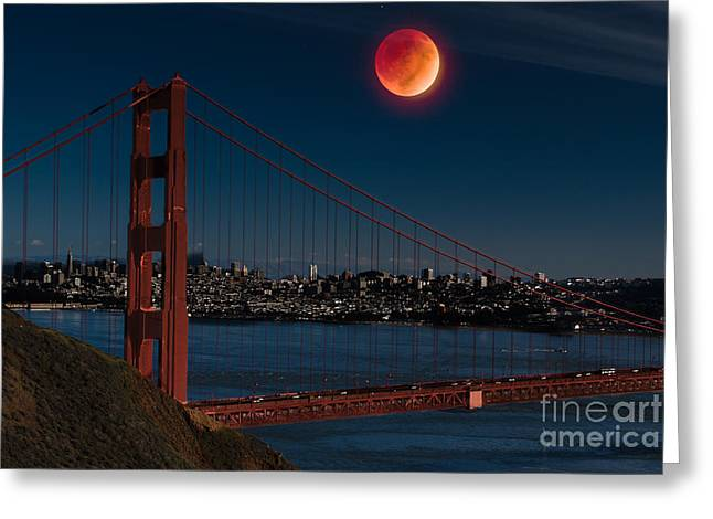 Blood Moon Over Golden Gate Bridge Greeting Card by Dan Hartford