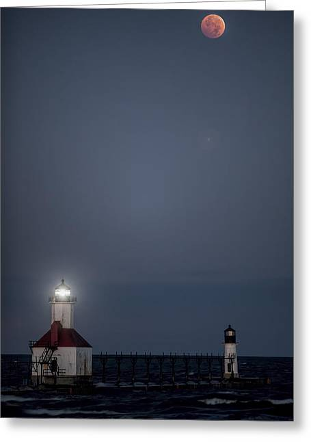 Blood Moon Over St Joe 2 Greeting Card by John Crothers