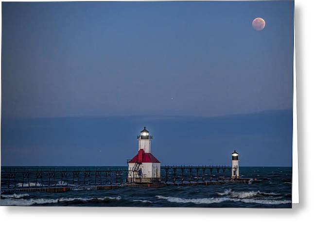 Blood Moon Over St Joe 3 Greeting Card by John Crothers