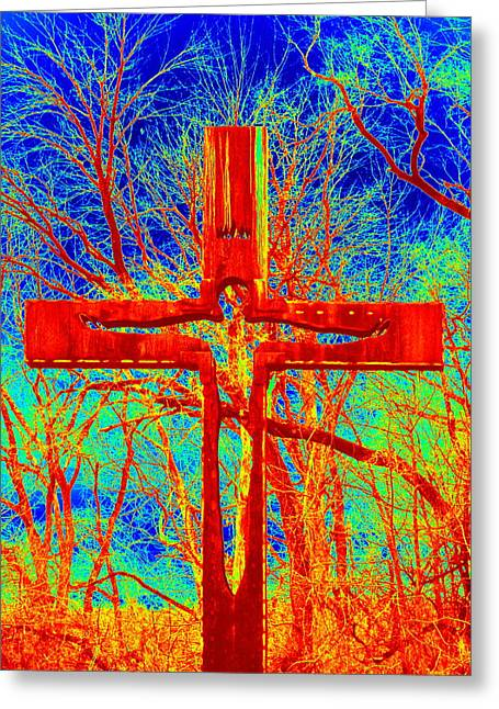 Greeting Card featuring the photograph Blood On The Cross by Cathy Shiflett