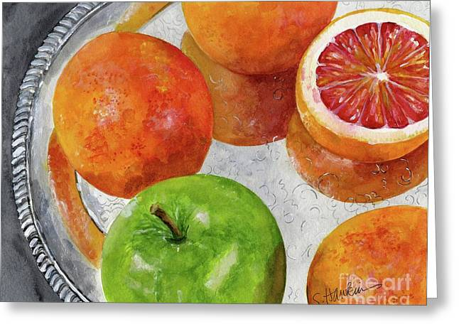 Blood Oranges On Silver Tray  Greeting Card