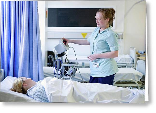 Blood Oxygen Monitor Greeting Card by Lth Nhs Trust