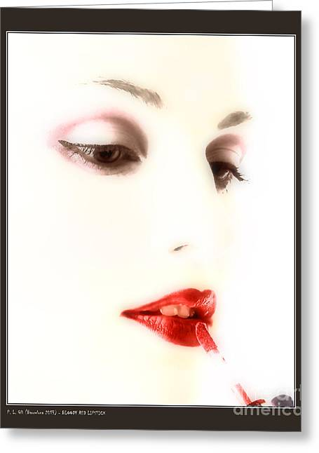 Blood Red Lipstick Greeting Card