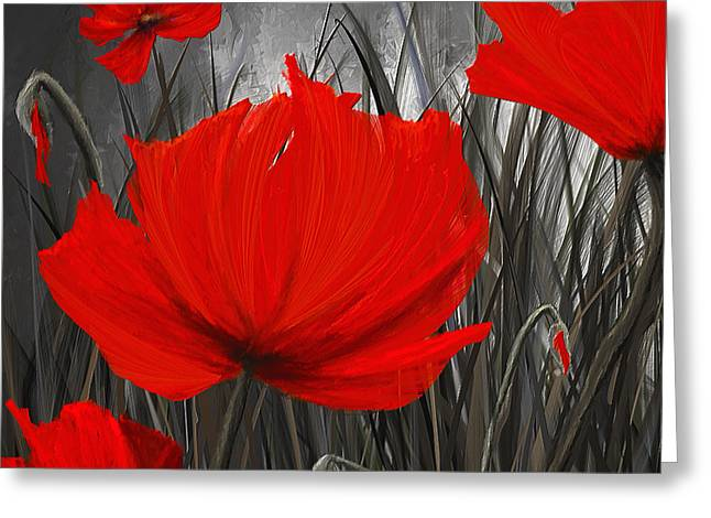 Blood-red Poppies - Red And Gray Art Greeting Card by Lourry Legarde