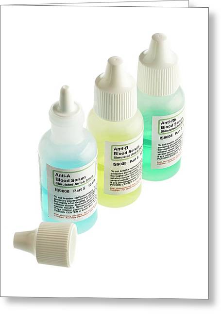 Blood Serum Samples In Plastic Bottles Greeting Card by Science Photo Library