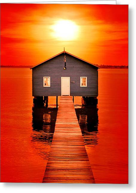 Blood Sunset Greeting Card by Az Jackson