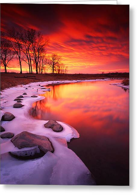 Blood Sunset Greeting Card by Ray Mathis
