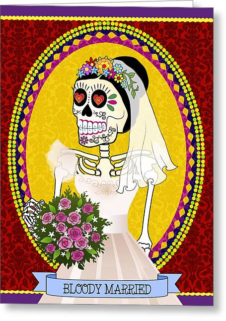 Bloody Married Greeting Card by Tammy Wetzel