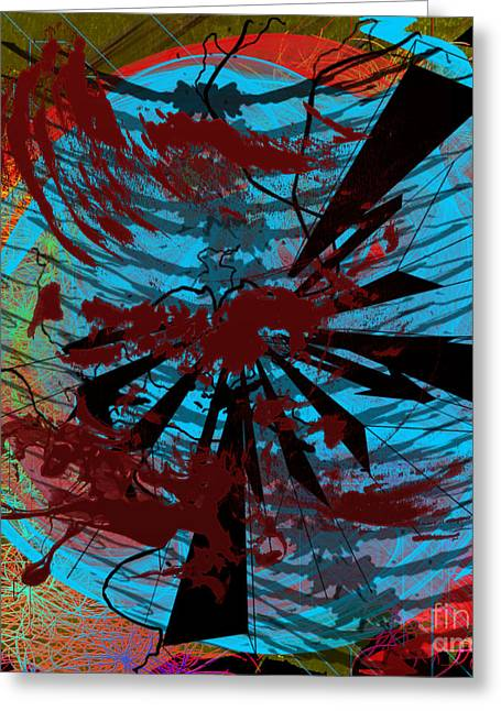 Greeting Card featuring the digital art Bloody Mess by Clayton Bruster