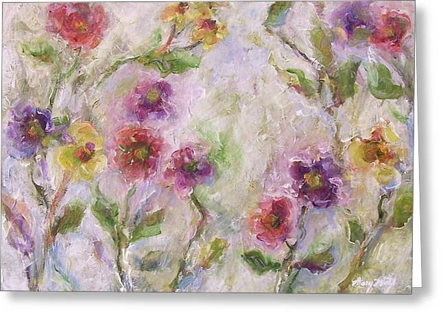Greeting Card featuring the painting Bloom by Mary Wolf