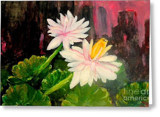 Greeting Card featuring the painting Blooming At Night  by Jason Sentuf