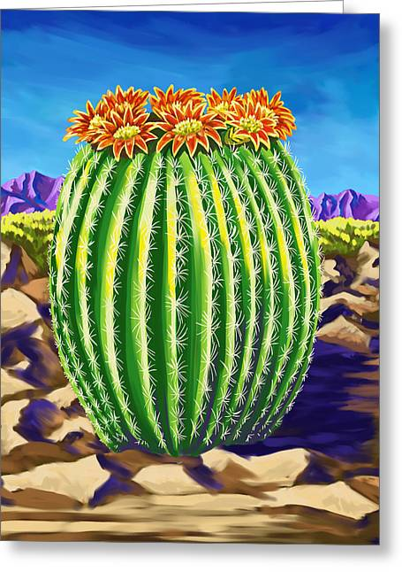 Greeting Card featuring the painting Blooming Barrel Cactus by Tim Gilliland