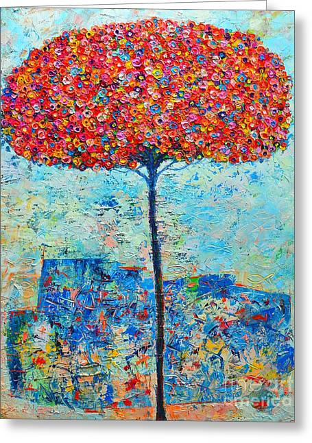 Blooming Beyond Known Skies - The Tree Of Life - Abstract Contemporary Original Oil Painting Greeting Card