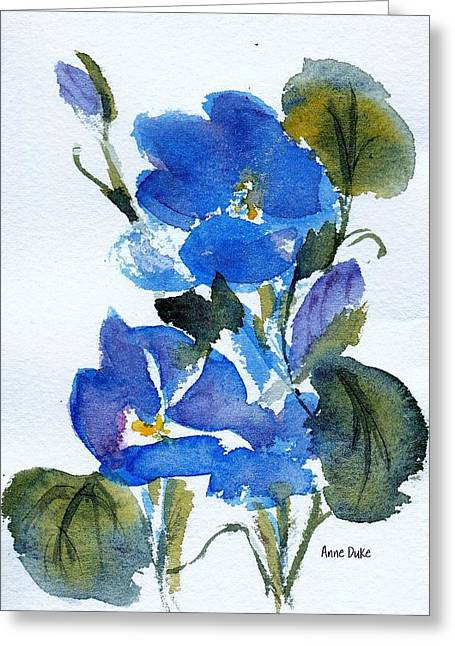 Greeting Card featuring the painting Blooming Blue by Anne Duke