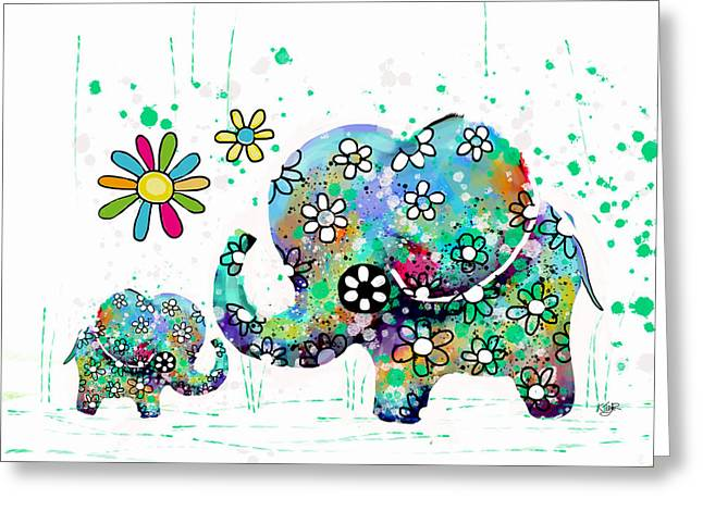 Blooming Elephants Greeting Card by Karin Taylor