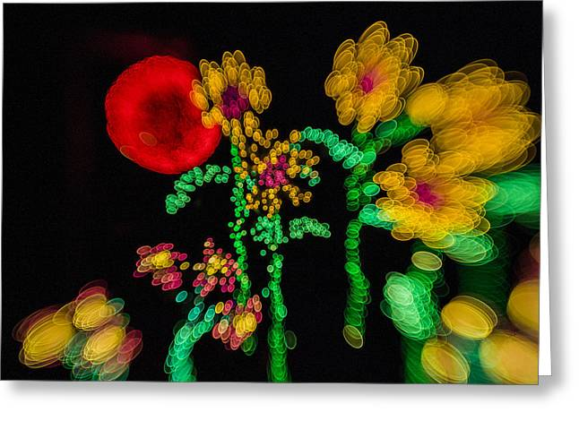 Blooming Lights Are Such A Blur Greeting Card by Scott Campbell