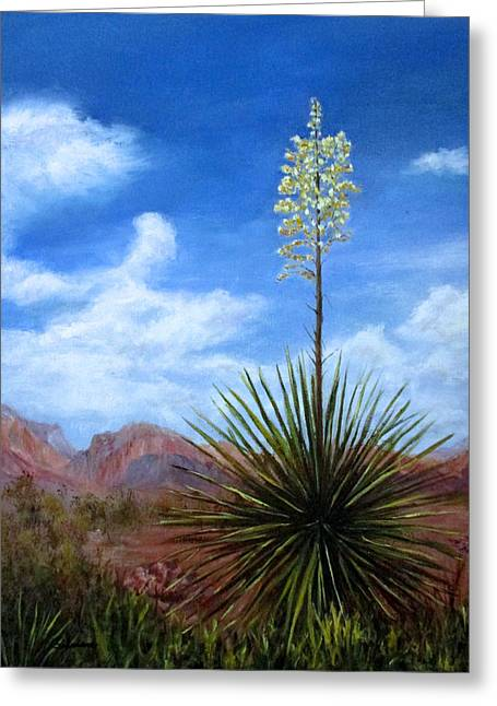 Blooming Yucca Greeting Card by Roseann Gilmore