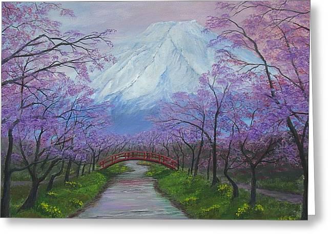 Blooms Of Fuji  Greeting Card
