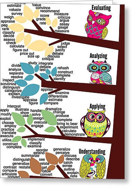 Bloom's Taxonomy With Verbs Greeting Card