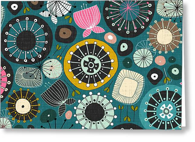 Blooms Teal Greeting Card by Sharon Turner