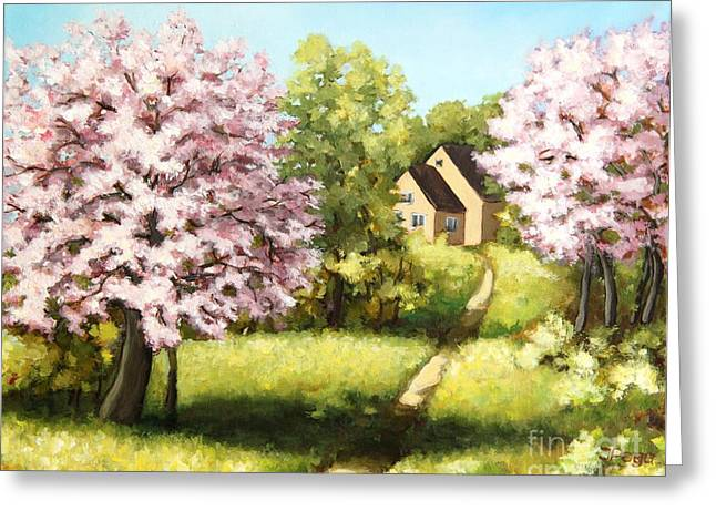 Blossoming Orchard Greeting Card