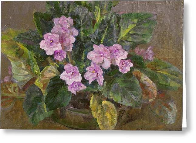 Blossoming Violet Greeting Card by Victoria Kharchenko