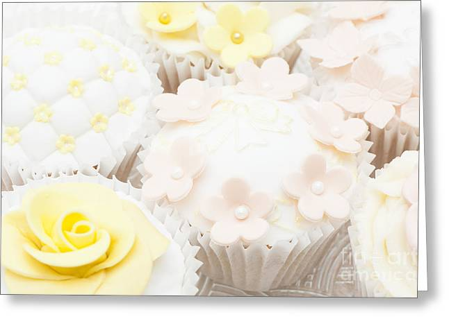Blossoms And Bows Cupcake Greeting Card by Anne Gilbert