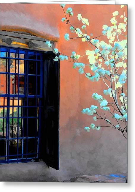 Blossoms And Stucco Greeting Card by Jan Amiss Photography