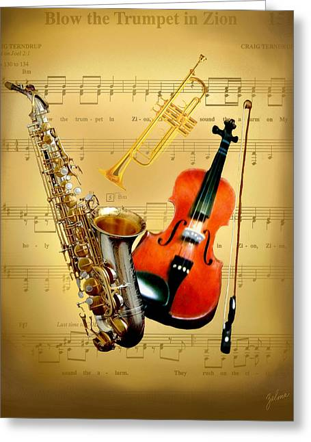 Blow The Trumpet In Zion Greeting Card by Zelma Hensel