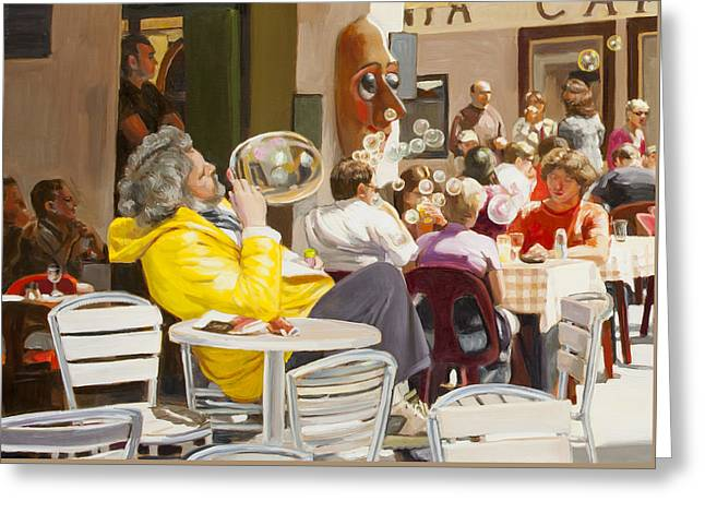 Blowing Bubbles At The Cafe  Greeting Card by Dominique Amendola