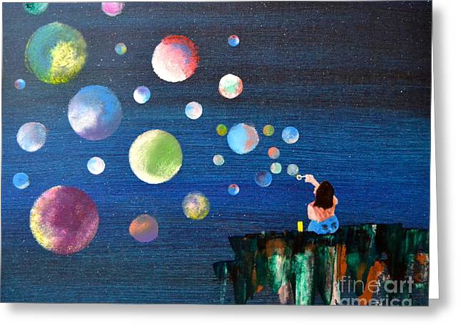Greeting Card featuring the painting Blowing Bubbles by Denise Tomasura