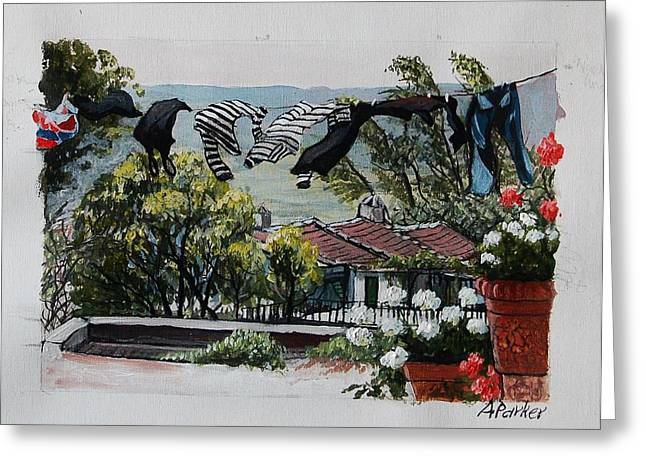 Blowing In The Wind Greeting Card by Anne Parker