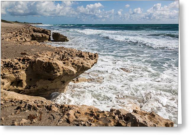 Blowing Rocks Beach Looking North Jupiter Island Florida Greeting Card by Michelle Wiarda