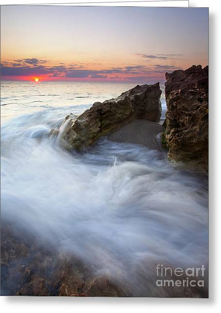 Blowing Rocks Sunrise Greeting Card by Mike  Dawson