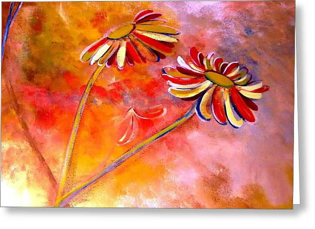 Greeting Card featuring the painting Blown Backward Fall Floral by Lisa Kaiser