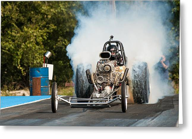 Blown Front Engine Dragster Burnout Greeting Card