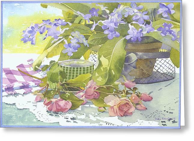 Blu Cape Primroses Greeting Card by Julia Rowntree